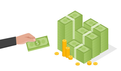 Businessman hand holds a stack of green dollars money vector illustration