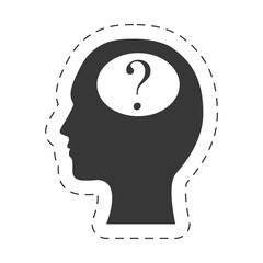 silhouette head question mark image vector illustration eps 10