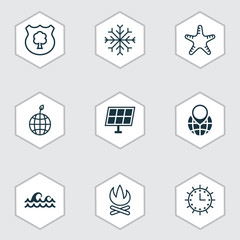 Set Of 9 Ecology Icons. Includes Pin Earth, Ocean Wave, Timber And Other Symbols. Beautiful Design Elements.
