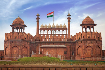 "Red Fort Delhi also known as the ""Lal Qila"" is a red sandstone fort city built during the Mughal regime. A Mughal Indian architecture structure designated as a UNESCO World Heritage Site in 2007."