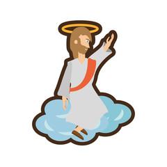 jesus christ ascension pray line vector illustration eps 10