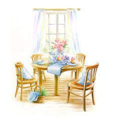 窓辺のダイニングテーブル