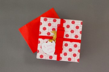 Gift box with I love you mom tag