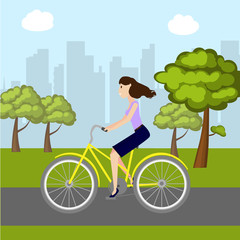 Girl on bike in park