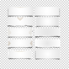 Set of white notes paper on transparent background
