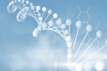 Blue DNA strand with chemical structures 3d