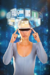 Composite image of woman using virtual video glasses 3d