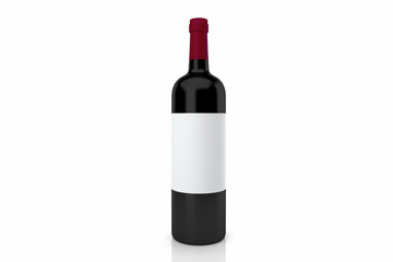 red wine bottle isolated on white 3D rendering