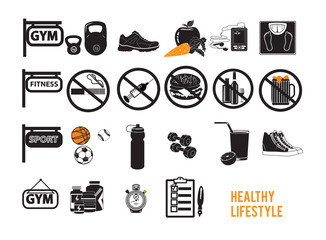 Icons for healthy lifestyle fitness set