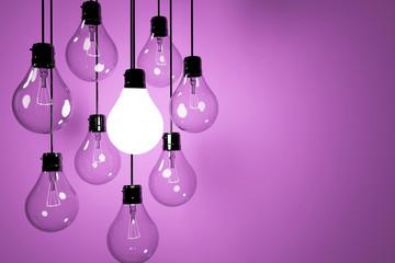 realistic lightbulbs on purple background in 3D rendering