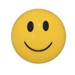 yellow smileys on isolated white in 3D rendering