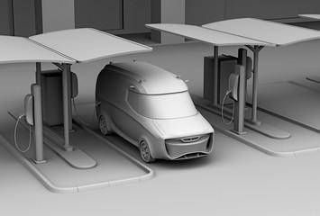 Clay model rendering of delivery van in charging station. 3D rendering image.