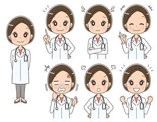 女性ドクターのイラスト(セット 全身)