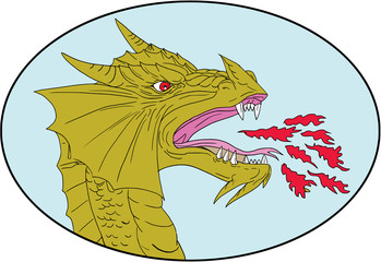 Dragon Head Breathing Fire Oval Drawing