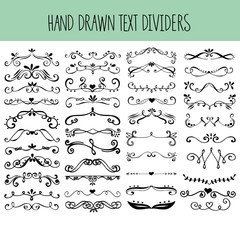 Set of hand drawn text dividers.