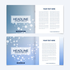 Templates for square brochure. Leaflet cover presentation. Business, science, technology design book layout. Scientific molecule background