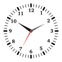Vector illustration of mechanical clock. Clock hands and clock face on white background.