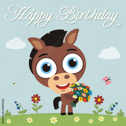 Happy Birthday To You Funny Horse With Flowers Birthday Card With