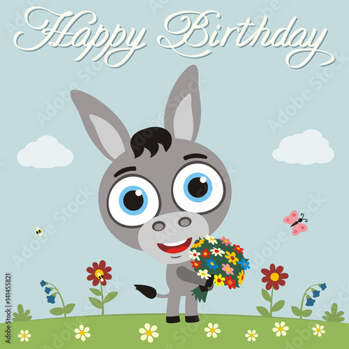 Happy Birthday To You Funny Donkey With Flowers Birthday Card With