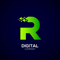 Letter R Pixel logo, Triangle, Arrow and forward logo, Green color,Technology and digital logotype