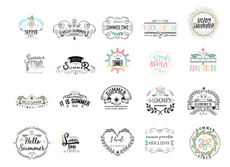Badge as part of the design - Summer. Sticker, stamp, logo - hands made. With the use of floral elements, calligraphy and lettering