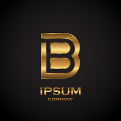 Letter B with metallic texture,3d Glossy, metal texture, Gold, steel and realistic shadow for logo