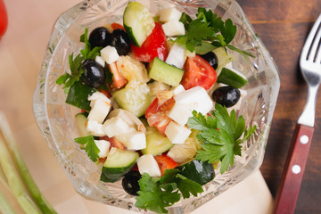 salad with olives and cheese, Greek salad