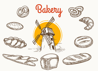 Vintage traditional bakery products vector sketch. Wheat and rye bread and grain mill hand drawn illustration isolated on white background