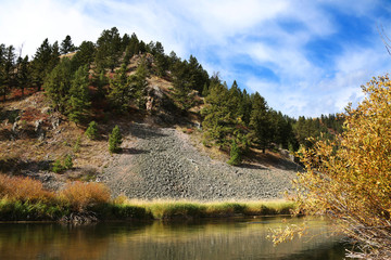 Wall Mural - Idaho Mountain Scenic with Forest and River with Fall Colors