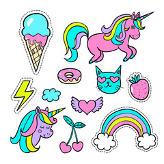 A set of  cartoon patch badges , fashion pin badges. Vector illustration isolated on white background.