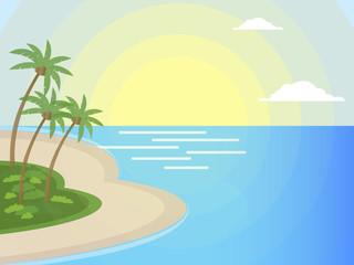 Summer travel - sunset beach scene tropical background