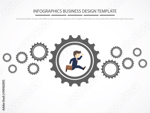 Infographic Ideas easy infographic template : Easy to edit with people walking on gear. Infographic Template ...