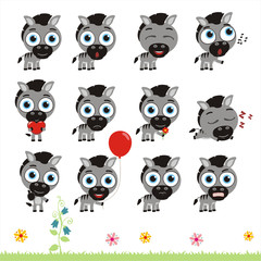 Big set cute little zebra. Collection isolated cartoon zebra in different poses.