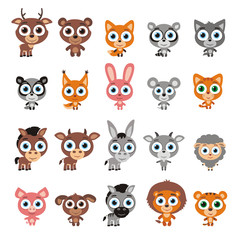 Big set cute animals with big eyes in cartoon style. Vector collection isolated animals on white background.