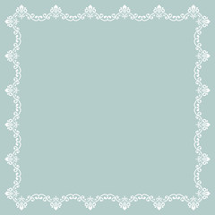 Classic vector square white frame with arabesques and orient elements. Abstract ornament with place for text. Vintage pattern