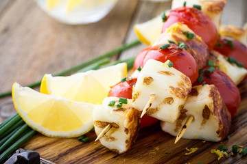 Aluminium Prints Grill / Barbecue Homemade barbecue haloumi and cherry tomato kebabs