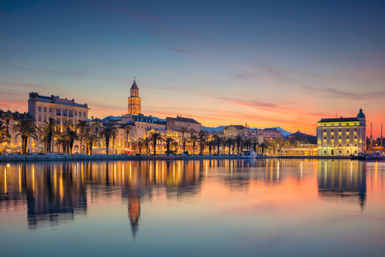 Split. Beautiful romantic old town of Split during beautiful sunrise. Croatia,Europe.