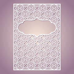 Openwork square frame with floral pattern. Laser cutting template for greeting cards, envelopes, invitations, interior decorative elements.