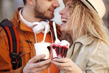 Happy Couple Eating Ice-Cream