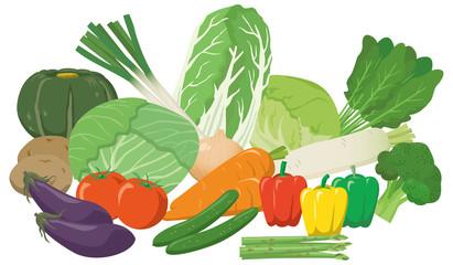 野菜の盛り合わせイメージイラストセット
