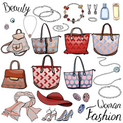 Pack with woman accessories, jewel, bags. Objects on white for fashion design. Different style and color color. Romantic, business,casual and glamour style.