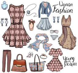 Pack with woman dresses,shoes and bra. Objects on white for fashion design. Romantic and casual style.
