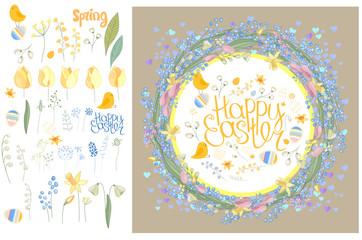 Round frame with pretty flowers muscari, tulips and daffodils and text Happy Easter. Festive floral circle for your season design.