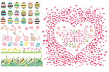 Frame with pretty small hearts and phrase Happy Easter. Festive template for your season design.