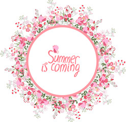Round frame with pretty flowers sweat peas and text Summer is coming. Festive floral circle for your season design.