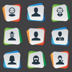 Vector Illustration Set Of Simple Member Icons. Elements Job Man, Mysterious Man, Internet Profile And Other Synonyms Internet, Mysterious And Whiskers.