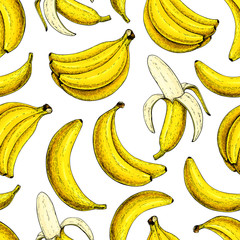 Banana vector seamless pattern. Isolated hand drawn bunch and peel banana Summer fruit artistic style