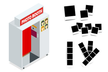 Isometric Compact Photo Booth and Photo frames. Flat 3d isometric illustration. For infographics and design games. Photorealistic and Template photo design.