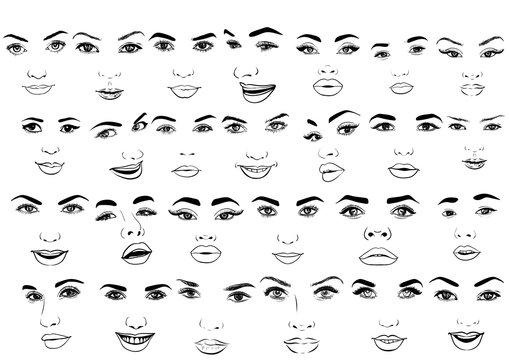 Beautiful fashion woman portrait set for make up on background. Vector illustration eps 10