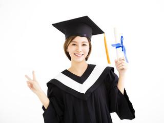 beautiful young asian graduate holding diploma